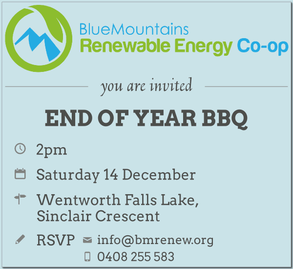 BMRenew End of Year BBQ Invitation: 2pm Sat 14 Dec at Wentworth Falls Lake