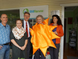 Standing in front of the new plaque, from left, Gary Caganoff (Sun-Kissed Solar), Marnie Tomczyk (BMRenew), Richard Wadick (Westpac), Noni McDevitt (BMRenew), Morna Colbran (Winmalee Neighbourhood Centre)